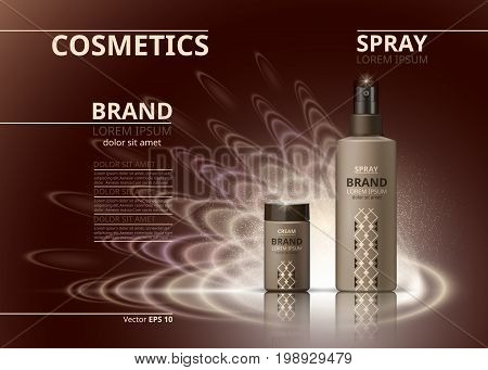 Cosmetic realistic package ads template. Hydrating face cream and body spray products bottles. Mockup 3D illustration. Sparkling backgrounds