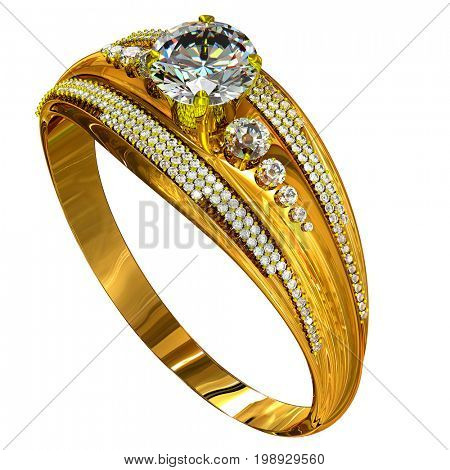 Engagement gold ring with gem. Luxury jewellery bijouterie with gemstone for people in love on white background. 3D rendering