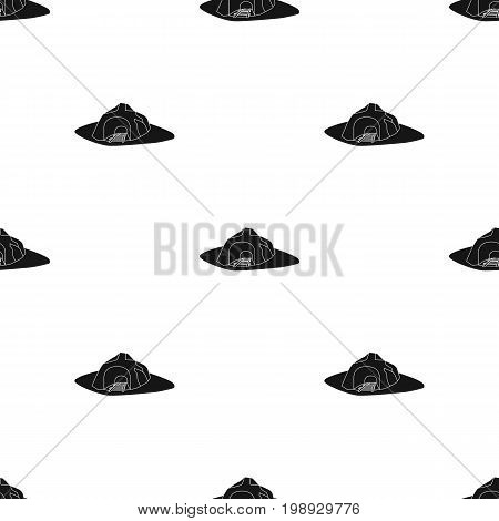 The entrance to the mine covered with grass. The place where the mine cars fall.Mine Industry single icon in black style vector symbol stock web illustration.