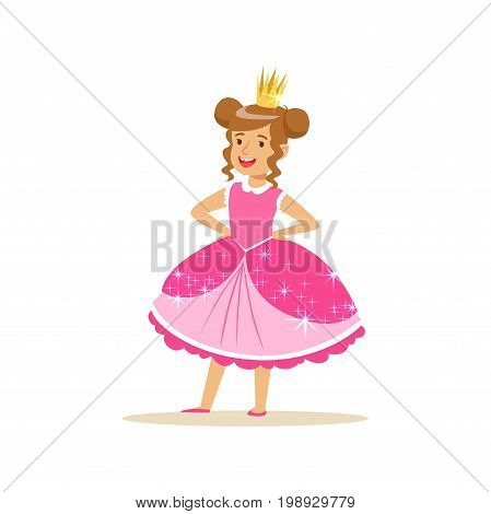 Beautifull little girl princess in a dark pink ball dress and golden tiara, fairytale costume for party or holiday vector Illustration isolated on a white background