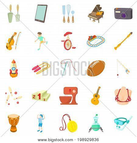 Hobby icons set. Cartoon set of 25 hobby vector icons for web isolated on white background
