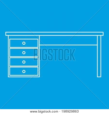 Wooden office desk icon blue outline style isolated vector illustration. Thin line sign
