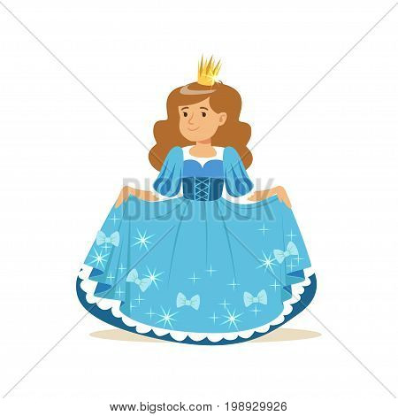 Beautifull little girl princess in a blue ball dress and golden crown vector Illustration, fairytale costume for party or holiday vector Illustration isolated on a white background