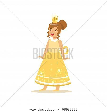 Beautifull little girl princess in a gold ball dress and golden tiara, fairytale costume for party or holiday vector Illustration isolated on a white background