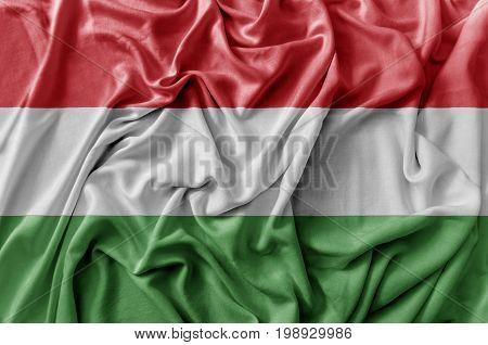 Ruffled waving Hungary flag national flag close