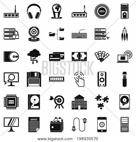 Web progress icons set. Simple style of 36 web progress vector icons for web isolated on white background