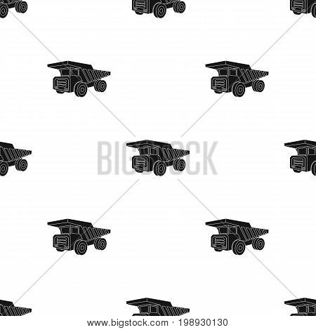 Yellow dump truck with black wheels.The vehicle used for transportation of minerals at the mine.Mine Industry single icon in black style vector symbol stock web illustration.