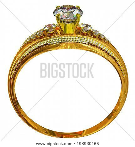 luxury female jewellery bijouterie with gemstone for people in love . One engagement gold ring with gem. Large gemstones in center on high-grade gold. 3D rendering