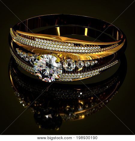 Gold ring with diamond gem jewelry. Luxury jewellery bijouterie with crystal for people in love . Top view of crown gemstone and reflection on black background. 3D rendering