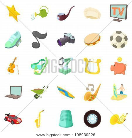 Interests icons set. Cartoon set of 25 interests vector icons for web isolated on white background