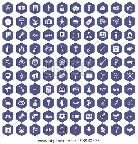 100 meeting icons set in purple hexagon isolated vector illustration