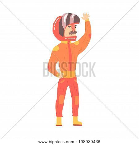 Car racing driver man in an orange uniform greeting fans, racing participant vector Illustration isolated on a white background
