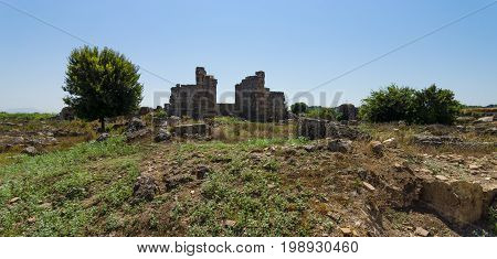 Ancient ruins of Perge. The ruins of an ancient Roman basilica.Turkey.