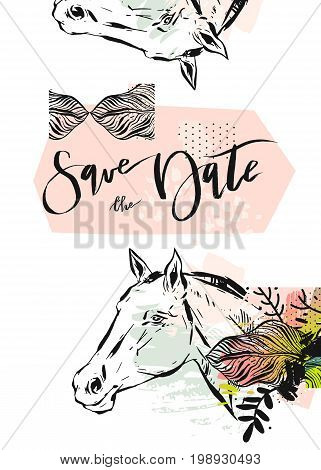 Hand drawn vector abstract modern boho tropical minimalistic save the date card template with exotic palm leaf and graphic horses head in pastel and green colors. Design for poster, card, invitation