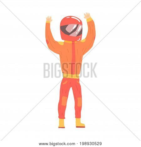 Car racing driver man in an orange uniform and helmet greeting fans, racing participant vector Illustration isolated on a white background
