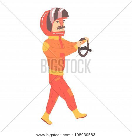Car racing driver man in an orange uniform and helmet holding steering wheel, racing participant vector Illustration isolated on a white background