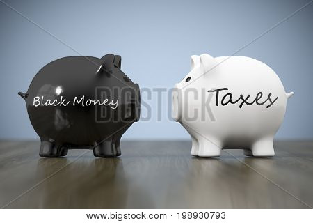 3d rendering of two piggy banks with the words black money and taxes