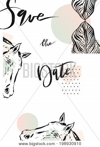 Hand drawn vector abstract modern boho tropical minimalistic save the date card template with exotic palm leaf and graphic horses heads in pastel and green colors. Design for poster, card, invitation