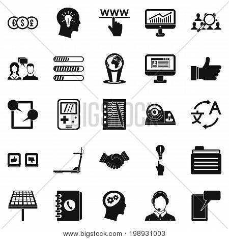 SEO interface icons set. Simple set of 25 seo interface vector icons for web isolated on white background