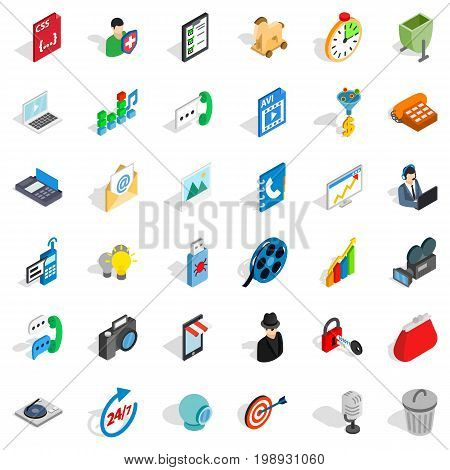 Web busket icons set. Isometric style of 36 web busket vector icons for web isolated on white background