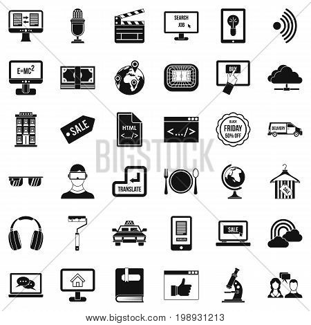 Web equipment icons set. Simple style of 36 web equipment vector icons for web isolated on white background