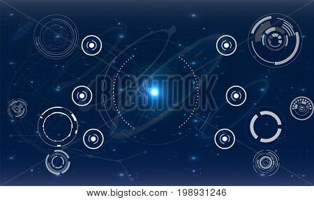 Safety screen.Futuristic user interface. Abstract virtual graphic touch user interface. HUD. Hi-tech basic. Blue and white elements. UI hud infographic interface screen monitor radar set web elements