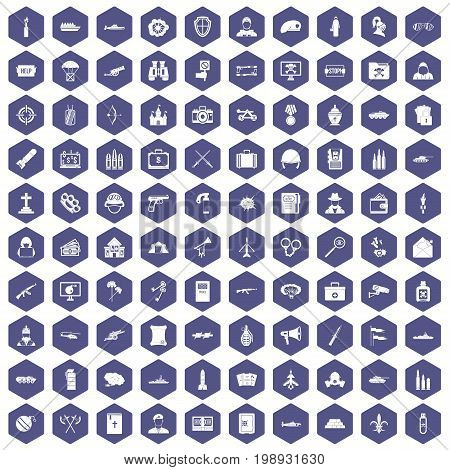 100 military icons set in purple hexagon isolated vector illustration