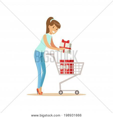 Happy woman in a casual clothes putting a gift box in the shopping cart, shopping in grocery store, supermarket or retail shop, colorful character vector Illustration isolated on a white background
