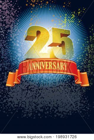 Background with design elements for the poster celebrating twenty-fifth anniversary