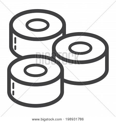 Sushi line icon, food and drink, japanese rolls sign vector graphics, a linear pattern on a white background, eps 10.