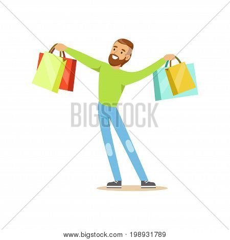 Elegant young handsome man standing with shopping bags colorful character vector Illustration isolated on a white background