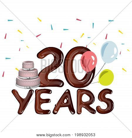 20th Years Anniversary card with cake. Vector illustration