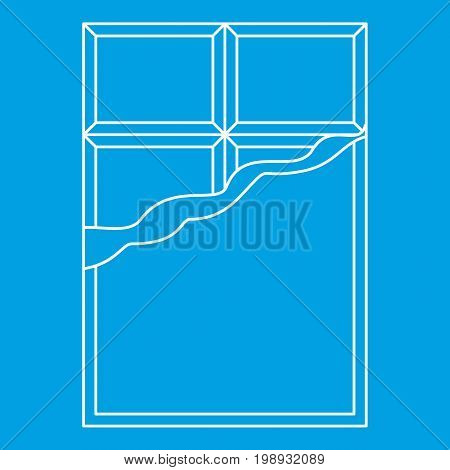 Chocolate icon blue outline style isolated vector illustration. Thin line sign