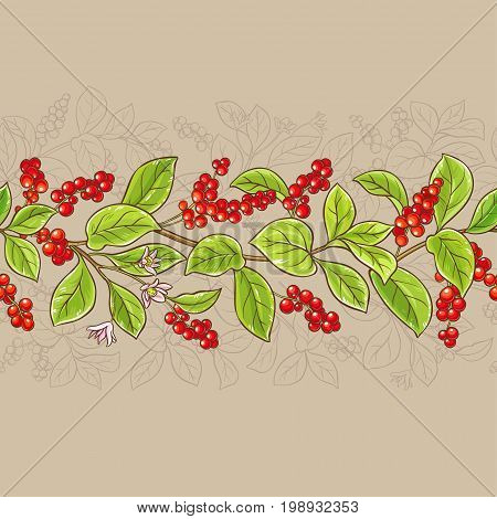 schisandra branches vector pattern on color background