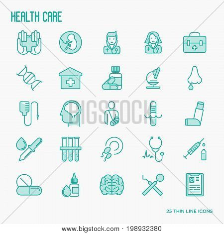 Health care thin line icons set related to hospital, clinic, laboratory. Vector illustration.