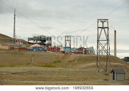 LONGYEARBYEN, NORWAY - SEPTEMBER 01, 2011: View to the town of Longyearbyen, Norway.