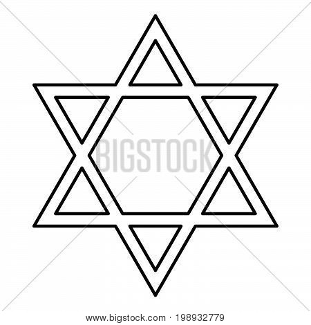 Jewish Star Of David Black Color Icon .