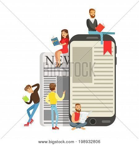 Micro young women and men sitting on a giant electronic book and newspaper, people enjoy reading vector Illustration isolated on a white background