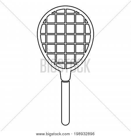 Tennis Racquet Black Color Icon .