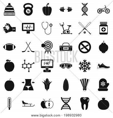 Wellness thing icons set. Simple style of 36 wellness thing vector icons for web isolated on white background
