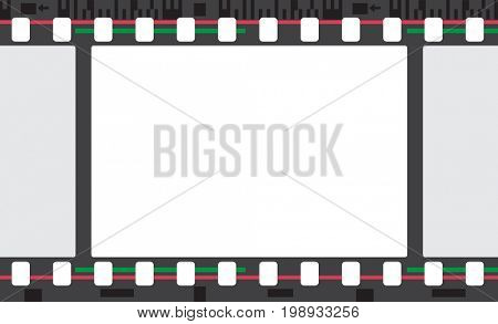 Color film stripe frame. Retro abstract background