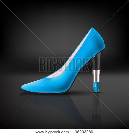 womens color shoe with lipstick heel on dark background. 3d illustration