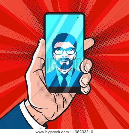 PopArt style mokup with trendy smartphone design in hand of man in suit and his selfie on screen
