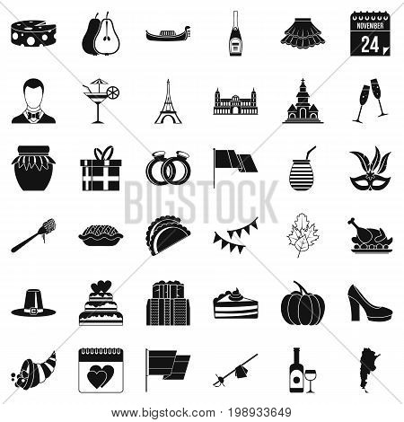Red wine icons set. Simple style of 36 red wine vector icons for web isolated on white background