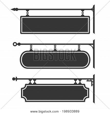 Signboard Hanging on Chains. Silhouette Set Signs. Vector illustration