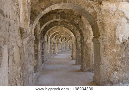 Internal passages in the ancient Roman amphitheater of Aspendos. The province of Antalya. Mediterranean coast of Turkey.
