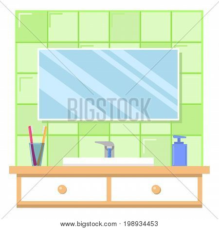 Bathroom interior with furniture.The wall which is laid out by a green ceramic tile.Sink and crane.Toothbrush and liquid soap, mirror.A table-top with boxes flat vector.For websites stores,game design