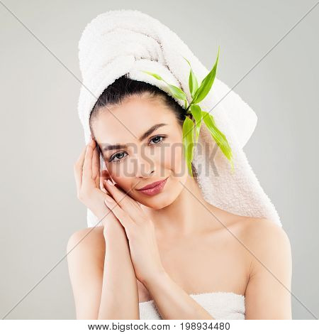 Spa Woman with Clear Skin after Bath. Skincare and Spa Treatment Concept