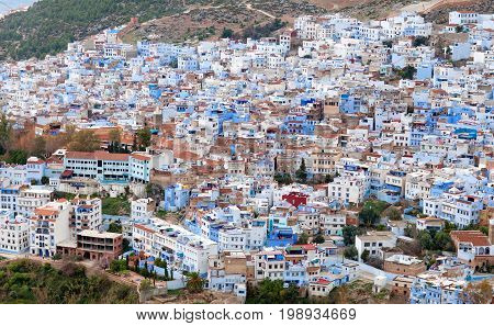 Medina of Chefchaouen Morocco. Chefchaouen or Chaouen is a city in northwest Morocco. It is the Chief town of the province of the same name and is noted for its buildings in shades of blue.