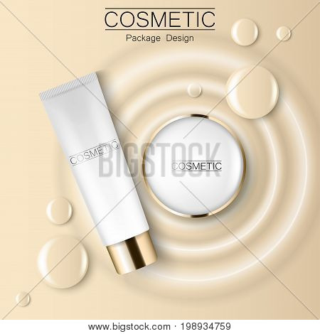 Concealer and compact foundation and a drop of the design template advertising cosmetics 3d. Top view realistic illustration of a packaging design cream. Vector illustration